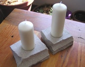 Indiana Limestone candle holder set of 2