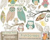 Owl Digital Collage Sheet, Whimsical, Wispy Woodland Owls Clip Art Sheets, Printable JPG & PDF Download, aceo, Collage, Stickers