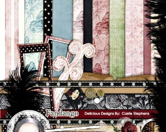 75% Off Sale! Retirement, Chic French Digital Scrapbooking Kit, Paper + Embellishments, Butterfly Toile, Dusty Rose Pink & Black, Fandango