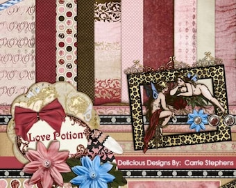 75% Off Clearance Sale, Love Potion Digital Scrapbook Kit, Papers & Embellishments, Romantic Valentine, Pink and Red