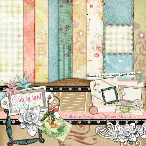 Shabby Chic Digital Scrapbooking Kit, Mother's Day Digital Paper, Lovely Cottage Chic, Grandmother Quilted Floral Patterns, 75% Off Sale!