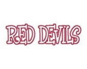 Instant Download Red Devils Embroidery Machine Applique Design- 907