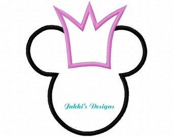 Instant Download Queen Mouse Ears  Embroidery Machine Applique Design-529