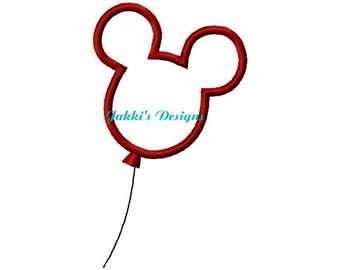 Instant Download Mouse Ears Balloon Embroidery Machine Applique Design-531