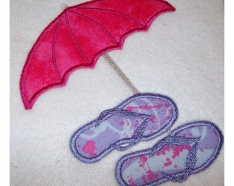 Instant Download Umbrella with Flip Flops Embroidery Machine Applique Design-632