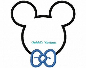 Instant Download Mouse Ears with Bow Tie Embroidery Machine Applique Design-525