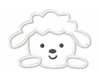 Instant Download Lamb Face Embroidery Machine Applique Design-619