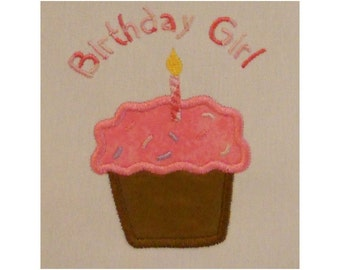 Instant Download Birthday Girl Cupcake with Sprinkles Embroidery Machine Applique Design-816