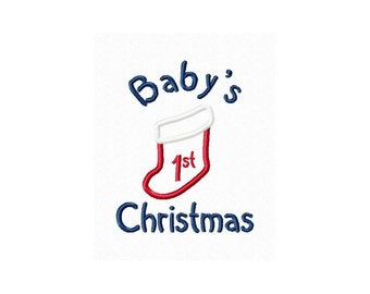 Instant Download Baby's 1st Christmas Embroidery Machine Applique Design-814