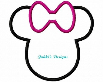 Instant Download Applique Mouse Ears with Bow Embroidery Machine Design-508