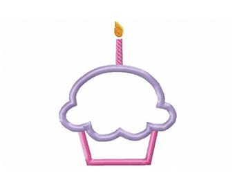 Instant Download Cupcake with Candle Embroidery Machine Applique Design-626