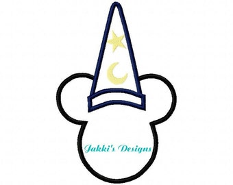 Instant Download Wizzard Mouse Ears Embroidery Machine Applique Design-505