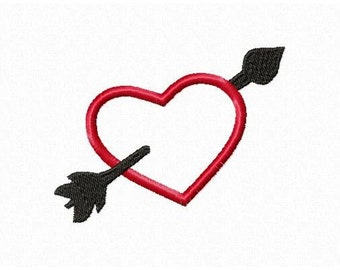 Instant Download Heart with Arrow Embroidery Machine Applique Design-850
