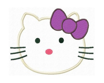 Instant Download Kitty Face Embroidery Machine Applique Design-521