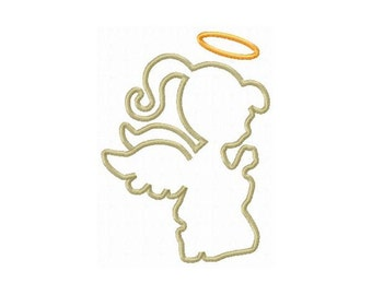 Instant Download Girl Angel Silhouette Embroidery Machine Applique Design-930