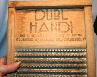Antique Primative Metal and Wood Traveling Washboard Colombus Ohio.