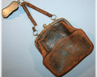 Antique Victorian dated 1900s Leather belt hanging Clasp  Purse Nice Steampunk for Attire