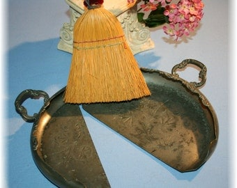 2 Antique Silent Butler New England Silver Plate Crumb Tray with Whisk Brush Reduced Price