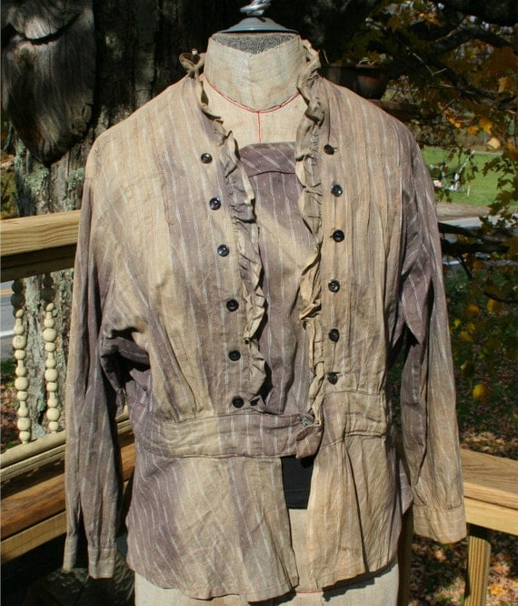 SALE Antique 1800s  Period Colonial Pioneer  Re-enactment Ladies Shirt Blouse  Just dye me back Carnival glass buttons unlined brass hooks