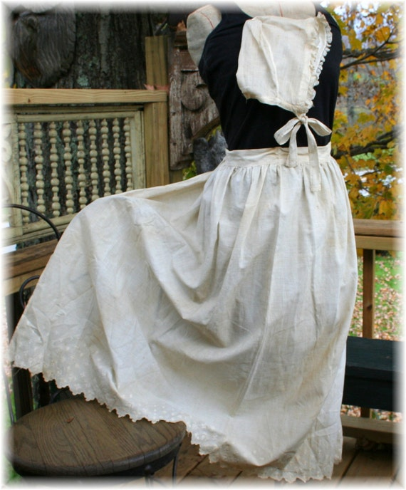 SALE Vintage Pioneer Frontier Colonial  Embroidery trim Apron with Bonnet Great authentic costume addition