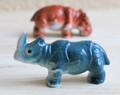 Adorable Vintage Rhino and Hippo Figurines