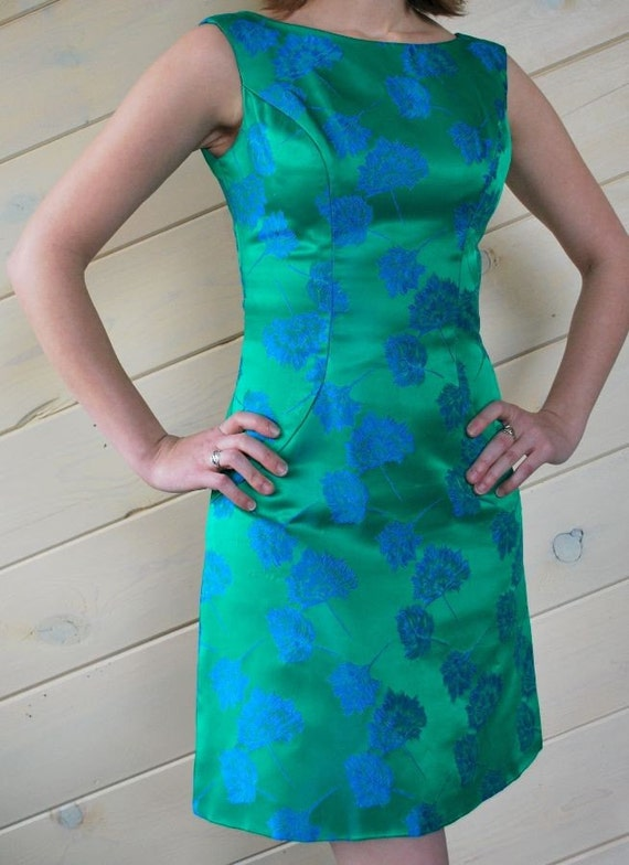 Reserved - Beautiful 1960s Vintage Green Silk Brocade Dress (Size XS)