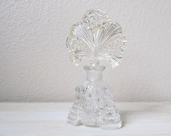 Vintage 1940s Cut Glass Perfume Bottle