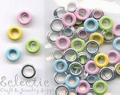 30 Pastel Mix 2-PART METAL EYELETS Grommets Fit 4.8mm Hole 3/16 in. Pink Blue Enamel