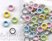 30 Pastel Mix 2-PART METAL EYELETS Grommets Fit 4.8mm Hole 3/16 in. Pink Blue Enamel