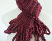 scarf, red, crochet, fringe, blue
