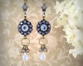 Full Circle (True Blue Version) - Unique Blue Earrings - Artistic Blue Earrings - Beach Wedding - Bridesmaid Earrings