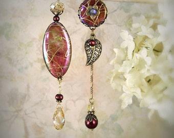 Daybreak Asymmetrical Earrings - Unique Cranberry Red Wine Copper Earrings - Mermaid Jewelry - Winter Wedding