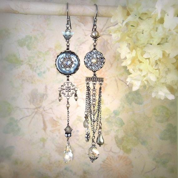 RESERVED for avallynh - Mystique Asymmetrical Earrings (Starlight Version) - Statement Earrings - Bohemian Jewelry