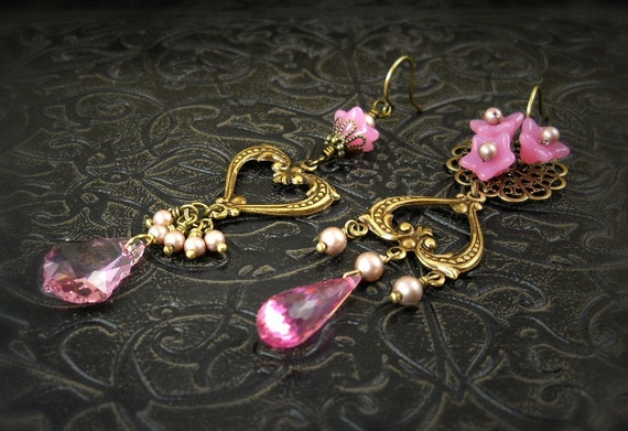 RESERVED for Kellie - Love in Bloom - Asymmetrical Earrings, Rose Pink, Hearts, Czech Flowers, Garden Wedding, Boho Bridesmaid, Petite