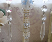Divine Hand Beaded Blue Crystal  and Flower Tassel - Hanging Door Decoration