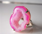 Light and Dark Pink Agate Gemstone Geode Druzy Drusy,  Cocktail Ring, Big Ring, Stalactite,  Magenta, Neon Pink, Sterling Silver Plated