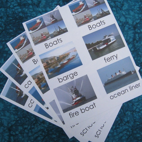 Montessori 3 part cards, Boats - Business. UNFINISHED - DISCONTINUED ITEM - 1 left.