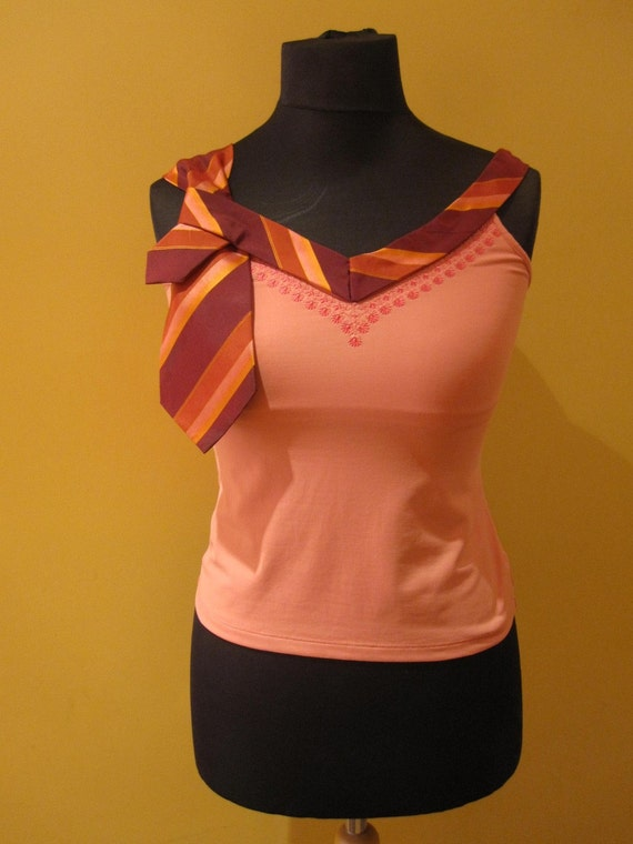 Repurposed Necktie Upcycled Camisole in Coral Pink - Womens Upcycled Clothing