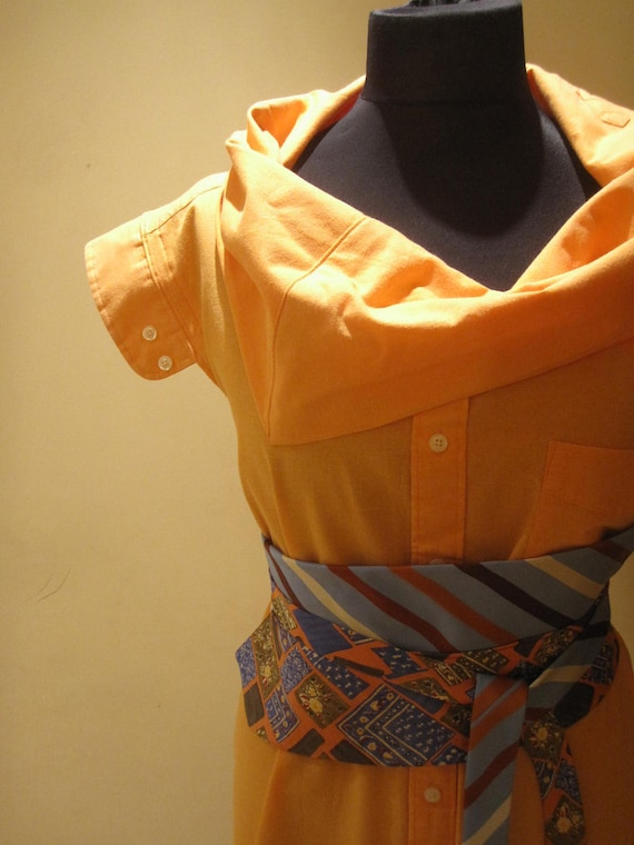 Cowl Neck Upcycled Boyfriend Tunic in Orange with Necktie Belt - made from man's dress shirt and neckties - Womens Upcycled Clothing