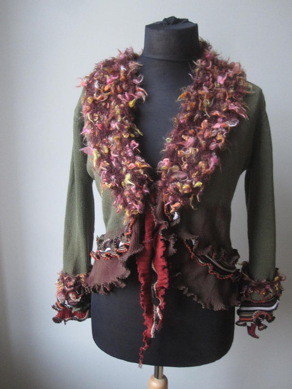 Upcycled Sweater - Tattered Ruffle Cardigan in Green and Brown - made from repurposed sweaters - Womens Upcycled Clothing