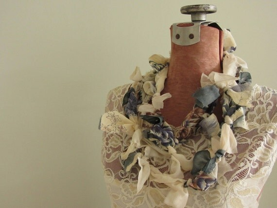 Upcycled Knotted Rag Necklace Infinity Scarf in Dusty Blue, Rose and Ivory - made from upcycled fabric - Womens Upcycled Clothing