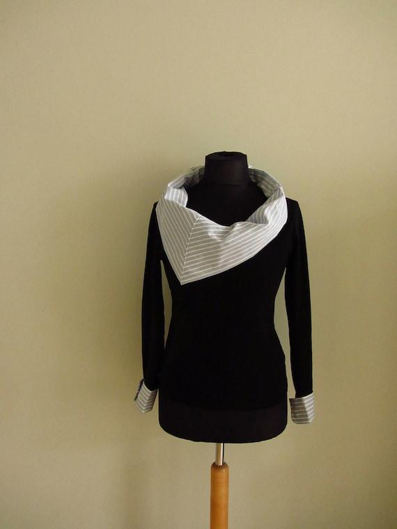 Upcycled Tshirt - Striped Cowl Neck Long Sleeve Tshirt in Black - Womens Upcycled Clothing - Size Medium Large