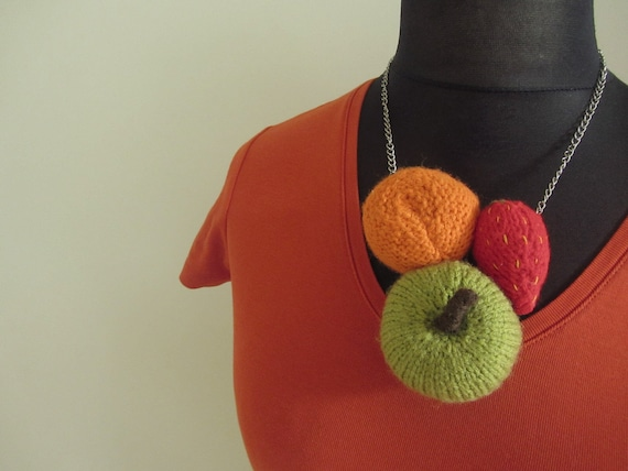 SALE / Fruit Salad Statement Necklace - Strawberry Apple and Mandarin - Repurposed Hand Knit Fruit - Upcycled Jewelry Jewellery