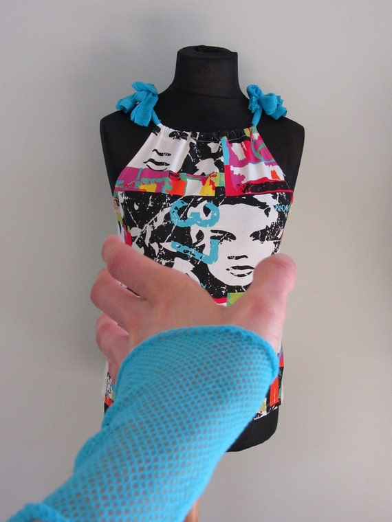 Neon Pop Art Punk Tank Tshirt with Fishnet Cuffs and Leggings / Womens Upcycled Clothing / Refashioned Tshirt / Mod Punk Tshirt / Newsprint