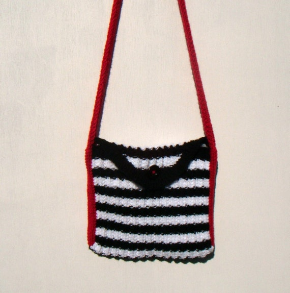 Stripe Messenger Bag - Black and White with Red strap