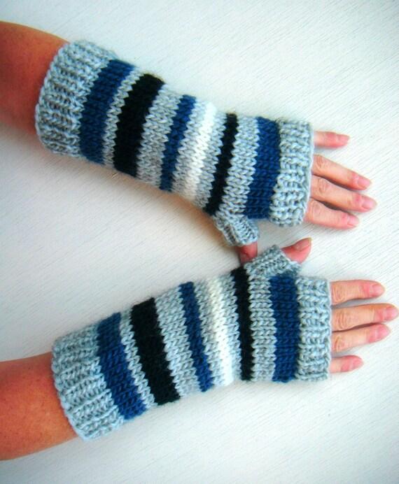 Long Fingerless Gloves, Stripes Unisex - Light Gray, Denim Blue, Black, Ecru White