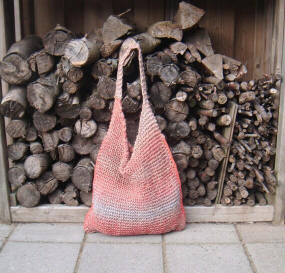 Rope Tote Bag, Hobo Bag, Shoulder bag, Hemp Rope, Beach Bag - Brown, Coral Red Orange and Ice Blue