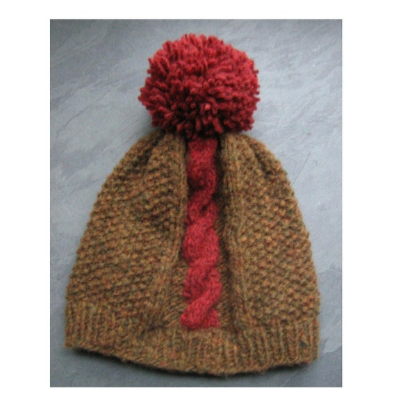Pom Pom Beanie with Cable, Bobble Hat - Forest Brown and Deep Wine Red