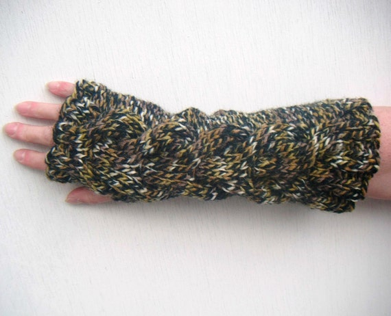 Cable Fingerless Gloves, Long, Tiger - Dark Brown, Red Brown, Sandy Yellow, White melee