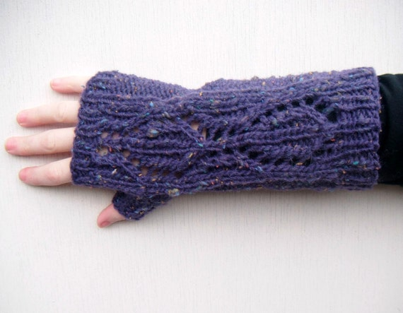 Hand Knit Long Fingerless Gloves, Openwork - Purple Tweed